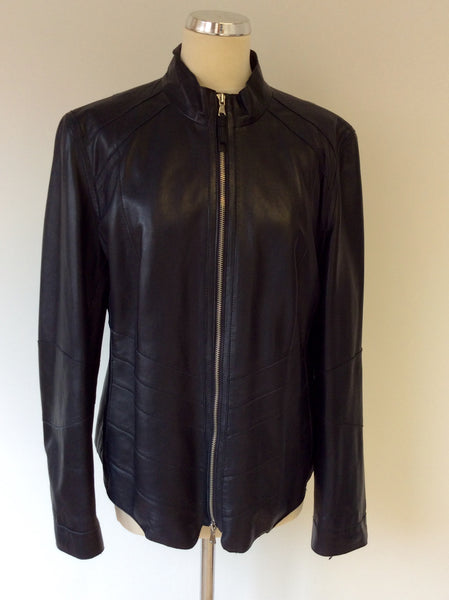 BETTY BARCLAY DARK BLUE SOFT LEATHER ZIP UP JACKET SIZE 18 - Whispers Dress Agency - Sold - 1
