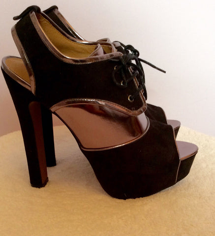 Brand New Kurt Geiger Black & Pewter Peeptoe Heels Size 7/41 - Whispers Dress Agency - Womens Heels - 3
