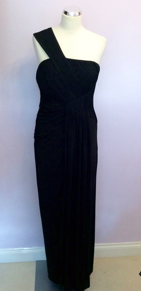 Coast Black Pleated One Shoulder Long Evening Dress Size 12 - Whispers Dress Agency - Sold - 1