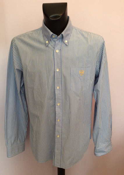 Gant Blue & White Stripe Cotton Shirt Size XL - Whispers Dress Agency - Mens Formal Shirts - 1