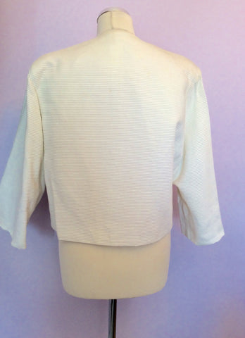 Vintage Jaeger Ivory Cotton Ribbed Box Jacket Size 10 - Whispers Dress Agency - Womens Vintage - 4