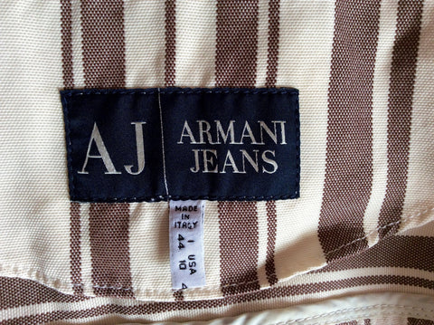 Armani Jeans Cream & Brown Stripe Jacket Size 14 - Whispers Dress Agency - Womens Coats & Jackets - 3