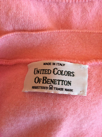Vintage United Colours Of Benetton Pink Wool & Angora V Neck Cardigan Size M/L - Whispers Dress Agency - Womens Vintage - 2