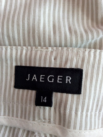 Jaeger Beige & White Pinstripe Cotton Crop Trousers Size 14 - Whispers Dress Agency - Sold - 3