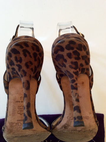 JIMMY CHOO BROWN LEOPARD PRINT STRAPPY SANDALS SIZE 5/38 - Whispers Dress Agency - Sold - 6