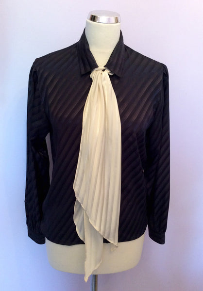 "Vintage Jaeger Navy Blue Stripe & Ivory Scarf Blouse Size 32"" Approx UK 10 - Whispers Dress Agency - Sold"