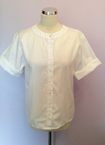 "Vintage Jaeger White Cotton Short Sleeve Blouse Size 34"" Approx UK 10 - Whispers Dress Agency - Womens Vintage"