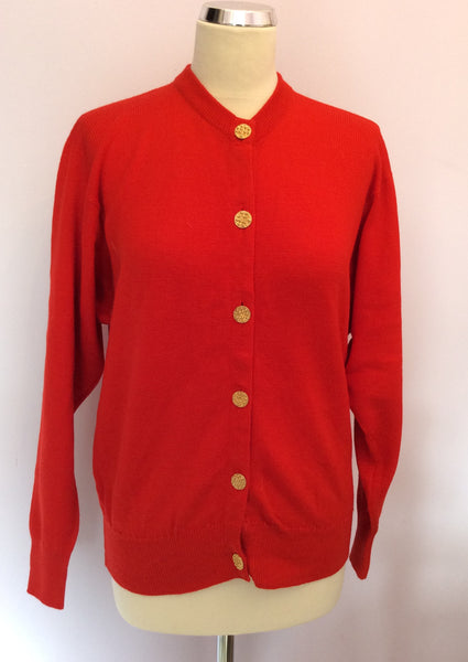 "Ballantyne Red Merino Wool Cardigan Size 38"" UK S/M - Whispers Dress Agency - Sold - 1"