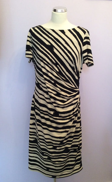 Betty Jackson Black & Ivory Stripe Pencil Dress Size 16 - Whispers Dress Agency - Sold - 1