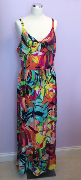 PER UNA MULTICOLOURED PRINT STRAPPY MAXI DRESS SIZE 14L - Whispers Dress Agency - Womens Dresses - 1