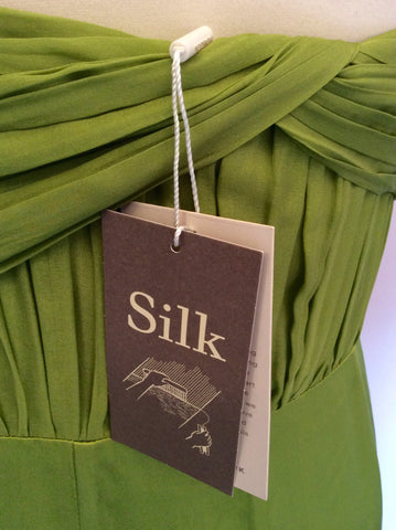 BRAND NEW MONSOON LIME GREEN SILK MAXI DRESS SIZE 18 - Whispers Dress Agency - Womens Dresses - 4