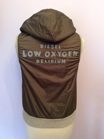 Reversible Diesel Khaki & Beige Zip Up Gilet Size S - Whispers Dress Agency - Womens Gilets & Body Warmers - 2