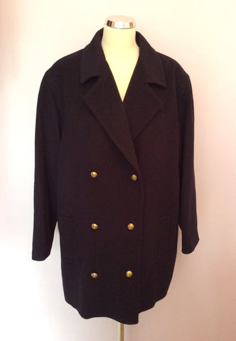 Brand New Jaeger Dark Blue Wool & Cashmere Jacket Size 18/20 - Whispers Dress Agency - Sold - 1