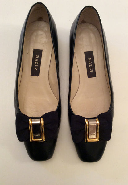 Bally Dark Blue Leather Bow Trim Court Shoes Size 5.5/38.5 - Whispers Dress Agency - Sold - 1