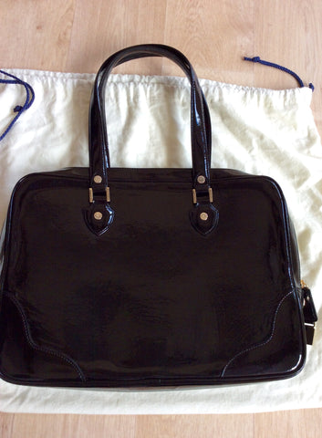 ASPINAL BLACK PATENT LEATHER SOFT LAPTOP TOTE BAG - Whispers Dress Agency - Shoulder Bags - 4