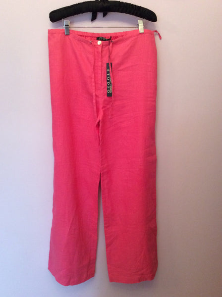 Brand New Fenn Wright Manson Pink Linen Trousers Size 14 - Whispers Dress Agency - Womens Trousers - 1