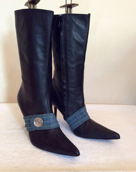 Miss Sixty Black Leather Calf Length Boots Size 5/38 - Whispers Dress Agency - Womens Boots - 1