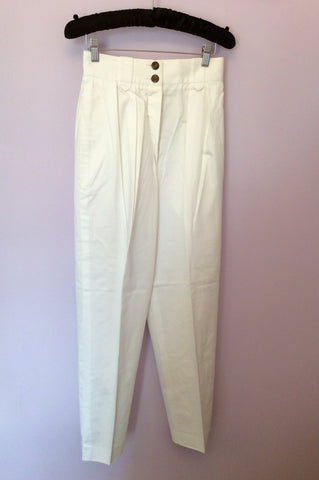 "Vintage Jaeger High Waist Cotton Trousers Size 25"" Approx UK 6 - Whispers Dress Agency - Womens Vintage - 1"