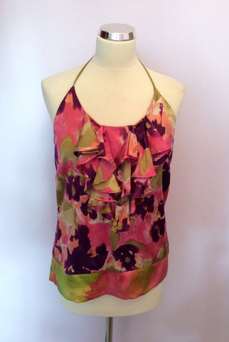 JOSEPH PINK,GREEN & PURPLE PRINT SILK HALTERNECK TOP SIZE M - Whispers Dress Agency - Womens Tops - 1