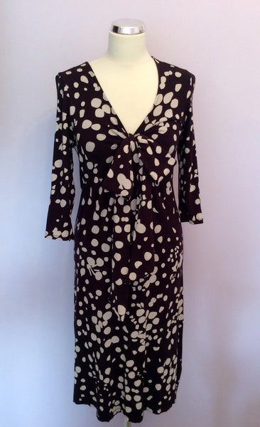 Fenn Wright Manson Dark Purple Spot Stretch Jersey Dress Size 10 - Whispers Dress Agency - Sold - 1