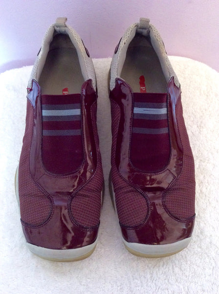 Prada Grey & Burgundy Patent Leather Trim Trainers Size 4/37 - Whispers Dress Agency - Sold - 1