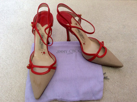 Jimmy Choo Red Leather & Beige Canvas Strappy Heels Size 5/38 - Whispers Dress Agency - Sold - 1
