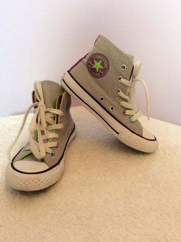 Converse All Star  Double Tongue Polka Dot Spot Grey High Top Trainers Size 11 - Whispers Dress Agency - Girls Footwear - 1