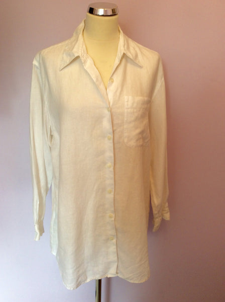 Liz Claibourne White Linen Shirt Size L - Whispers Dress Agency - Womens Shirts & Blouses - 1