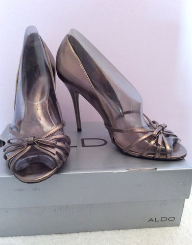 Aldo Pewter Leather Peeptoe Strappy Heels Size 4/37 - Whispers Dress Agency - Womens Heels - 1