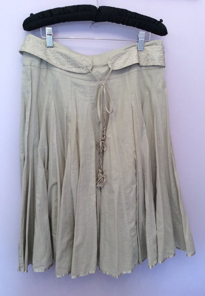 Reiss Beige Cotton Full Knee Length Skirt Size 10 - Whispers Dress Agency - Womens Skirts - 1