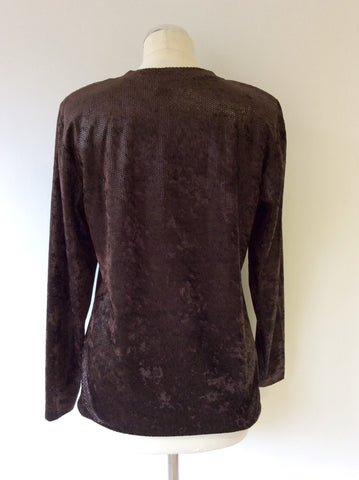 BETTY BARCLAY BROWN SPARKLE LONG SLEEVE TOP SIZE M - Whispers Dress Agency - Womens Tops - 3