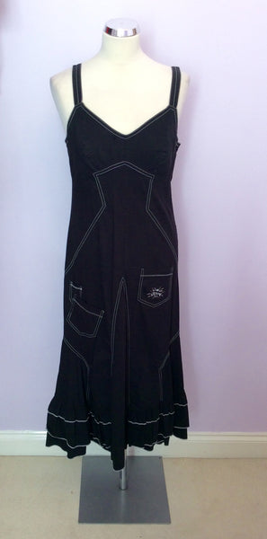 French Designer Bleu D'Azur Black Strappy Dress Size 14 - Whispers Dress Agency - Womens Dresses - 1