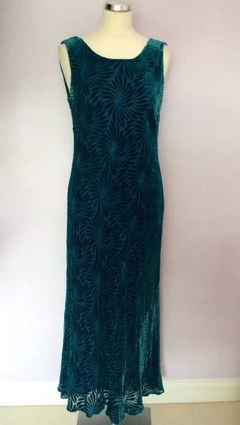 Country Casuals Kingfisher Green Beaded Trim Dress Size 14 - Whispers Dress Agency - Sold - 1