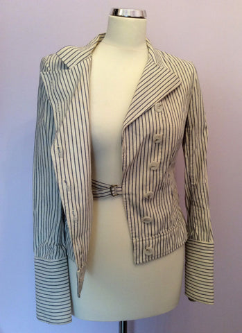 All Saints Blue & Ivory Pinstripe Cotton Jacket Size 10 - Whispers Dress Agency - Womens Coats & Jackets - 5