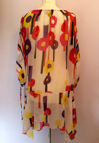 JUST CAVALLI PRINTED SHEER SILK KAFTAN/BEACH COVER UP SIZE 44 UK M/L - Whispers Dress Agency - Womens Swim & Beachwear - 2