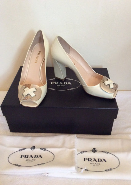 Prada Cream Patent Leather Peeptoe Heels Size 3.5/36 - Whispers Dress Agency - Womens Heels - 1