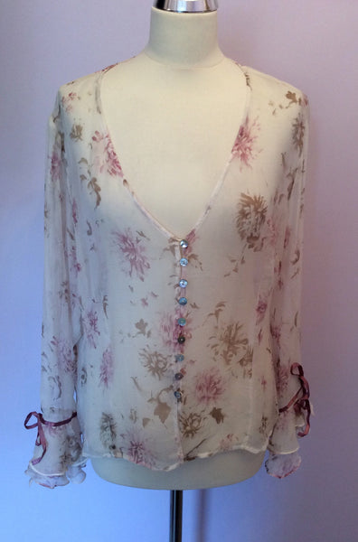 Pretty Ivory & Pink / Beige Floral Print Sheer Silk Blouse Size 16 - Whispers Dress Agency - Sold - 1