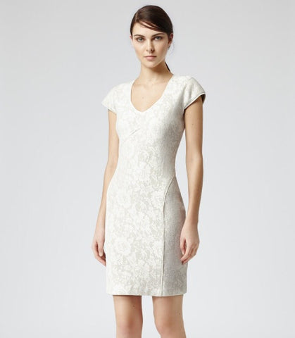 Brand New Reiss Cream Lace Jersey Dress Size 14 - Whispers Dress Agency - Womens Dresses - 2