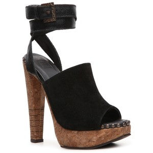 Brand New Herve Leger Black Suede & Cork Sandals Size 3.5/36 - Whispers Dress Agency - Womens Sandals - 1