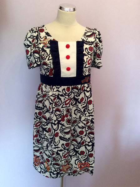 Laura Blue, Red & White Print Embroidered Tea Dress Size S - Whispers Dress Agency - Womens Dresses - 1