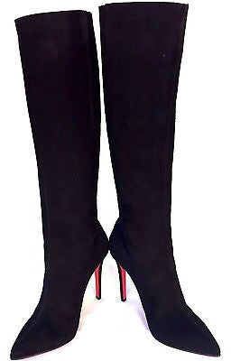 8af15ce51 ... Christian Louboutin Black Suede 'Pretty Woman' Knee High Boots Size 4.5/37.5  -