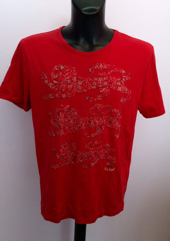 Ted Baker Red 3 Lions Short Sleeve T Shirt Size 5 Approx L - Whispers Dress Agency - Mens Casual Shirts & Tops