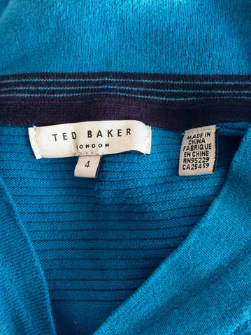 Ted Baker Turqouise V Neck Jumper Size 4 Approx M/L - Whispers Dress Agency - Mens Knitwear - 3