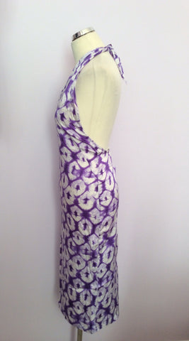 Joseph Purple & White Print Silk Halterneck Top Dress Size S - Whispers Dress Agency - Sold - 2
