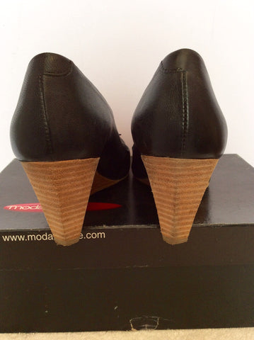 Moda In Pelle Black Leather Wedge Heels Size 7/40 - Whispers Dress Agency - Womens Wedges - 3