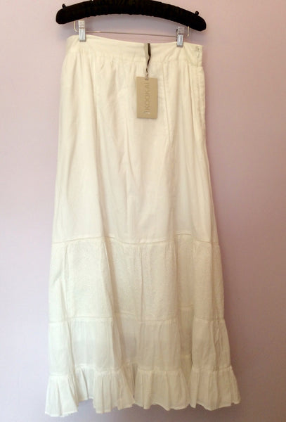 Brand New Kookai White Broidery Anglaise Trim Long Boho Skirt Size 42 UK 12/14 - Whispers Dress Agency - Sold - 1