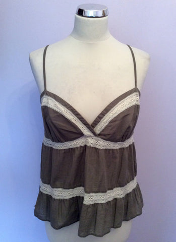 JOSEPH KHAKI & IVORY LACE TRIM STRAPPY CAMISOLE TOP SIZE 38 UK 10 - Whispers Dress Agency - Womens Tops - 1