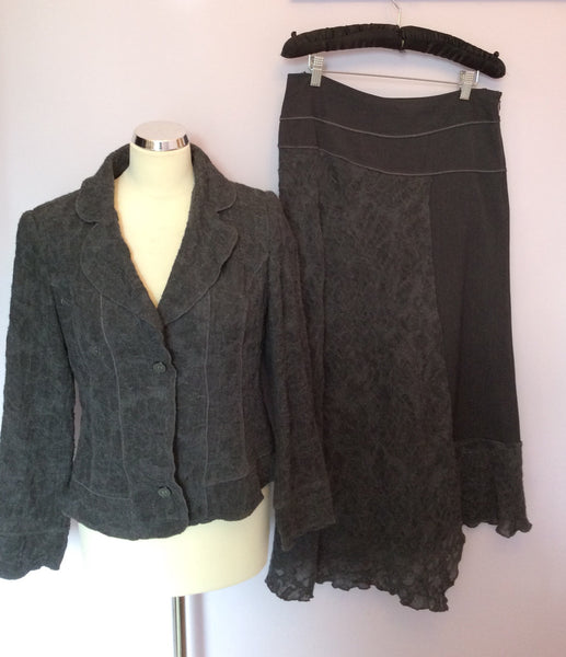 Sandwich Dark Grey Wool Jacket & Skirt Suit Size 38/40 UK 12 - Whispers Dress Agency - Sold - 1