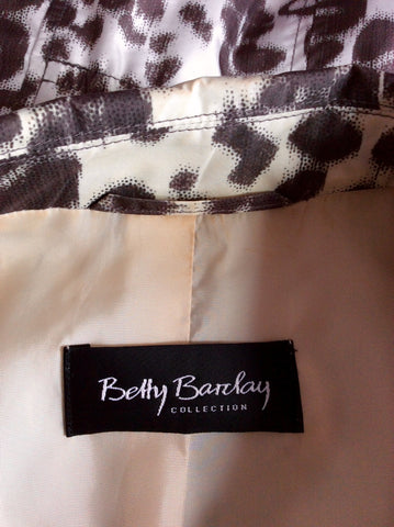 BETTY BARCLAY IVORY & BROWN PRINT JACKET SIZE 12 - Whispers Dress Agency - Womens Coats & Jackets - 4
