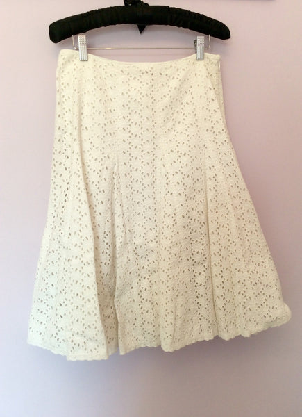 Monsoon White Broidery Anglaise Cotton Knee Length Skirt Size 10 - Whispers Dress Agency - Womens Skirts